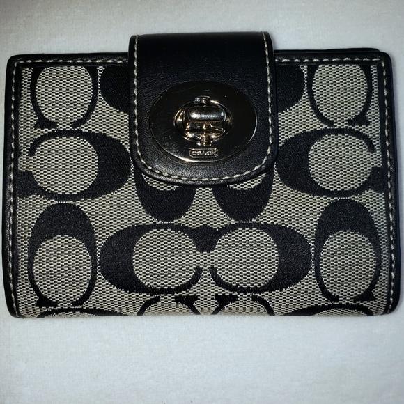 Coach Handbags - Sale pending-Coach turnlock canvas wallet